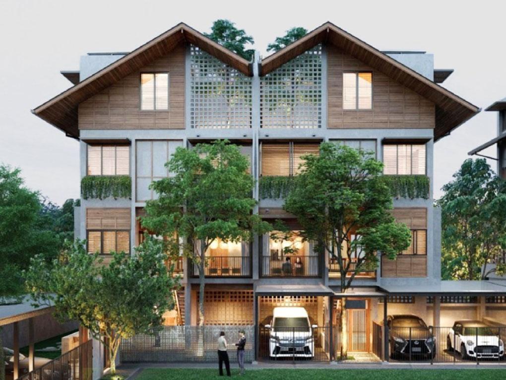 แบบบ้านคู่แฝด 3 ชั้น 3 ห้องนอน 4 ห้องน้ำ 1 ห้องรับแขก 1 ห้องอาหาร