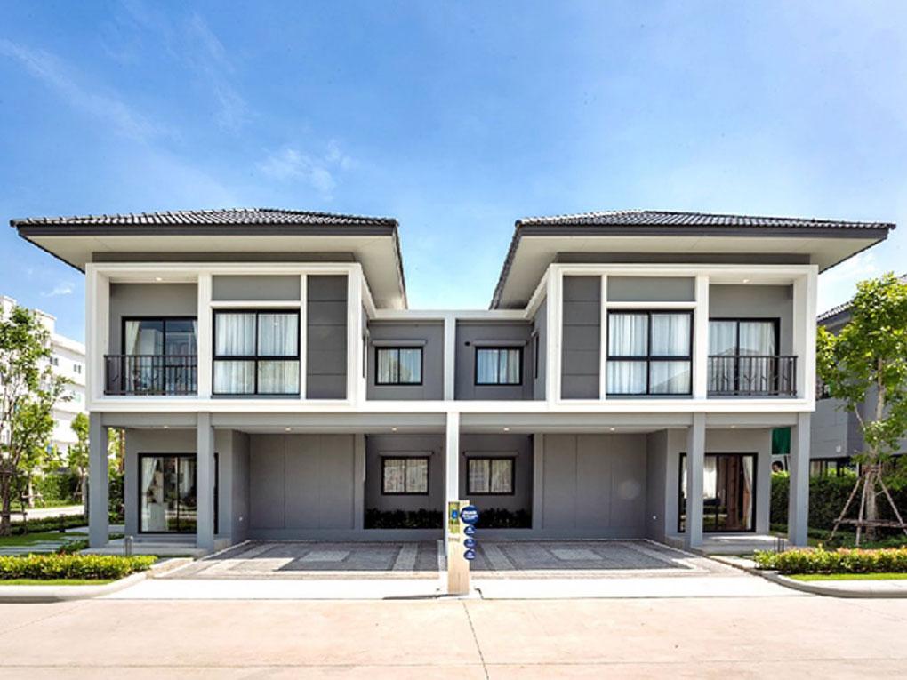 แบบบ้านแฝด 2 ชั้น วางแบบโมเดิร์นหลังคาเทลา